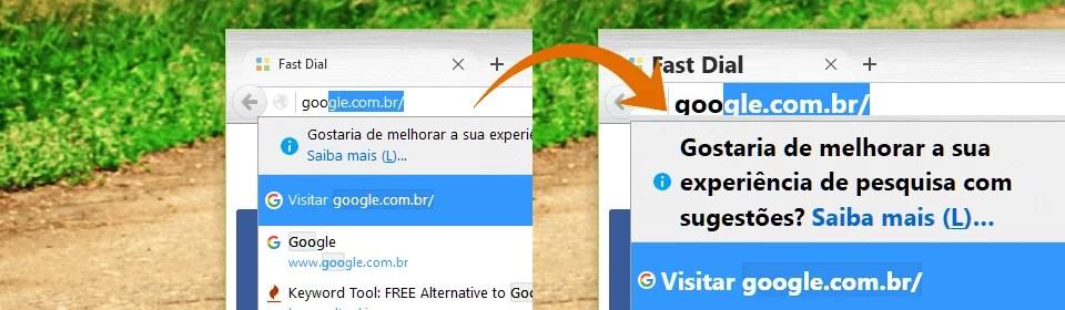 Comparativo: à esquerda a barra de endereço do Firefox com a fonte padrão e à direita com a fonte ampliada
