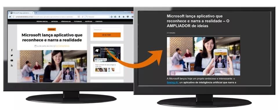 Dois monitores fazendo um comparativo. O da esquerda mostra o site sem o modo de leitura habilitado. O da direita mostra o modo leitor habilitado