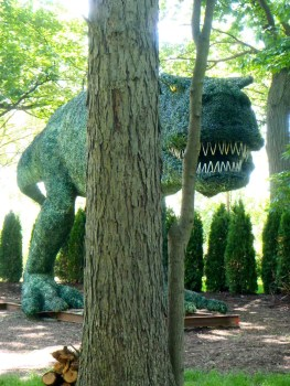 Joe Kyte Topiary Joe hiding dinosaur