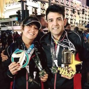 Wanita and Eduardo with marathon prizes