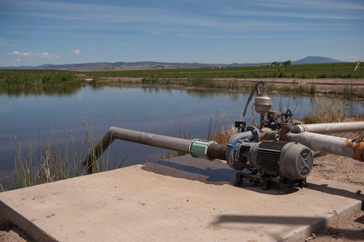 Irrigation valve near a field in central Oregon