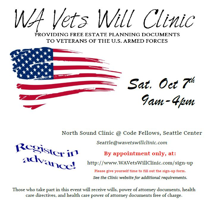 Wa vets will clinic october 15 outreach and resource services sign up now for the washington veterans will clinic and get your free estate planning documents including wills power of attorney documents solutioingenieria Choice Image