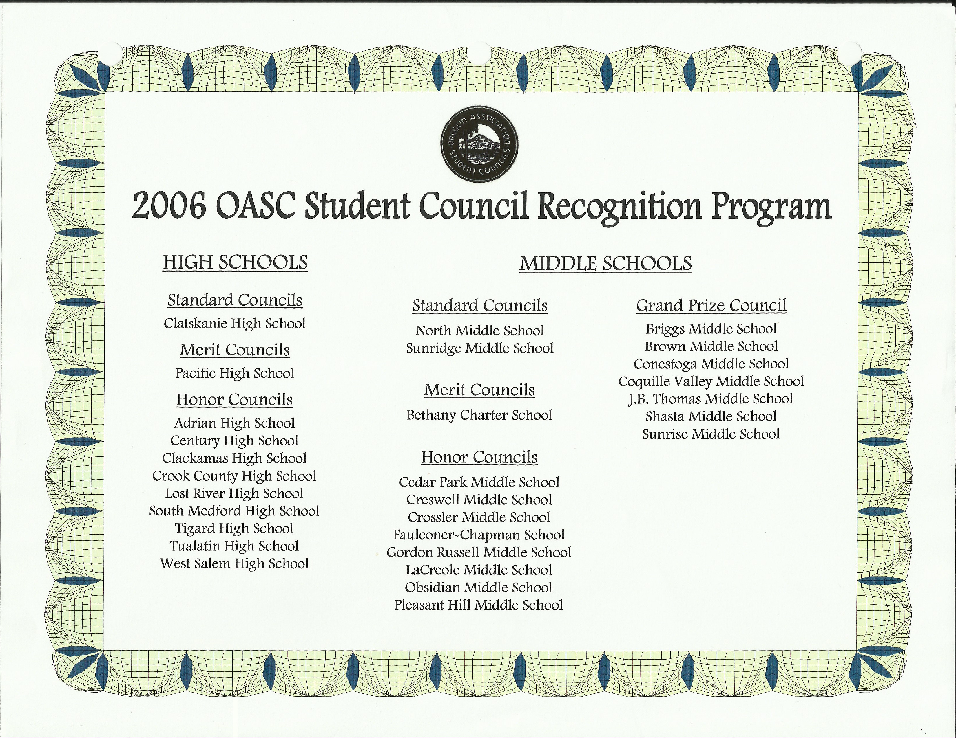 Student Council Leadership Recognition Program Ms Amp Hs