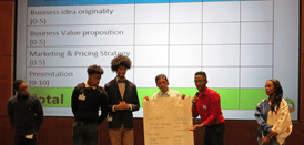 Another team presenting their business idea