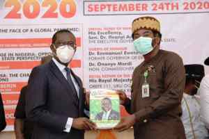 """Delta Governor, Senator Dr. Ifeanyi Okowa (left) and the National Publicity Secretary, NMA, Dr. Aniekeme Uwah, during the Opening Ceremony of the Nigeria Association of Resident Doctors (NARD) 40th AGM/Scientific Conference, """"Delta 2020"""" in Oghara ,Delta State. Thursday24/9/20; JIBUNOR SAMUEL."""