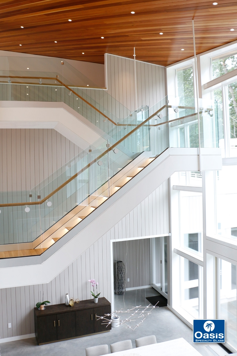 Glass Railings And Banisters Oasis Specialty Glass Boston Ma   Glass Banister Near Me   Frameless Glass   Curved Staircase   Glass Panels   Modern Staircase Design   Toughened Glass