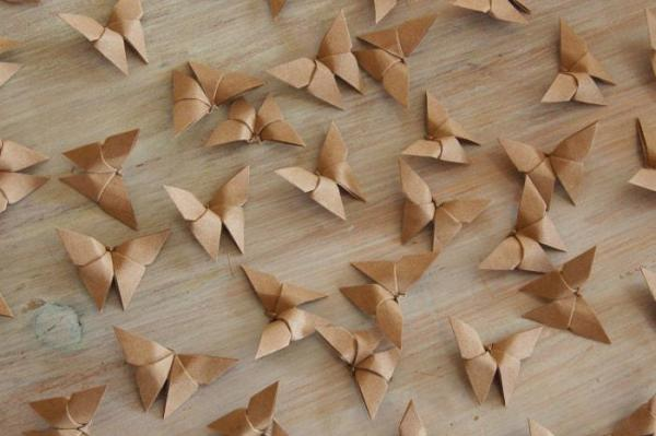 Origami-Butterfly-Wedding-Party-Table-Scatters-Confetti-Handmade-Brown-Paper-Oast-House-Gifts