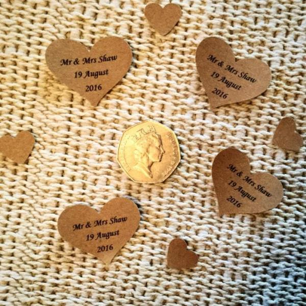 Wedding-Party-Table-Scatters-Paper-Confetti-Hand-Stamped-Hearts-Personalised-Brown-Paper-Oast-House-Gifts