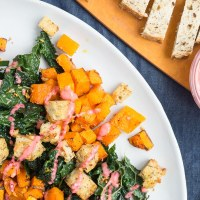Roasted Butternut Squash Salad with Garlic Bread Bites