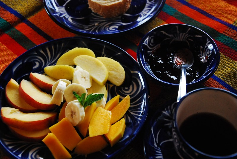 Fruit plate with homemade jam at La Tierra Antigua