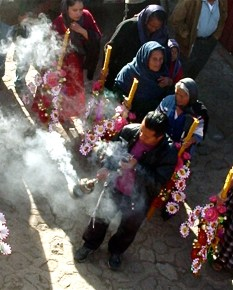Copal incense and flowers, Teotitlan del Valle posada