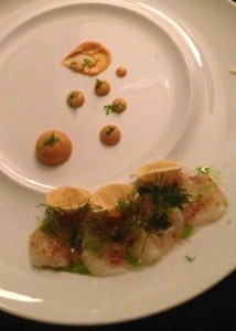 First course to share: scallop carpaccio