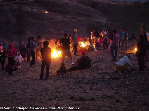 The fire log toss, Teotitlan del Valle style at Las Cuevitas