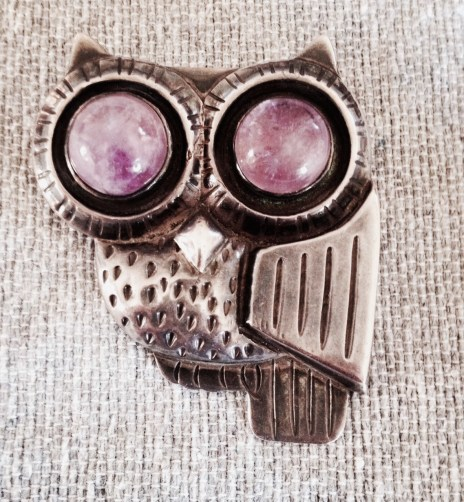1950's vintage Spratling owl pin with amethyst eyes