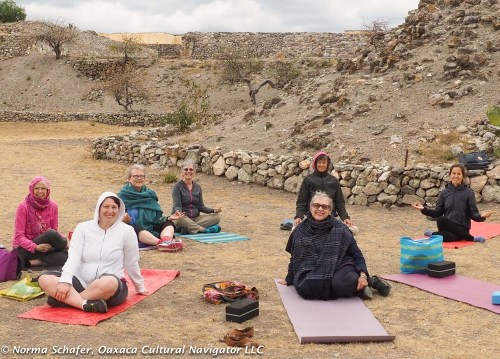 Yoga session at Yagul archeological site, 2016