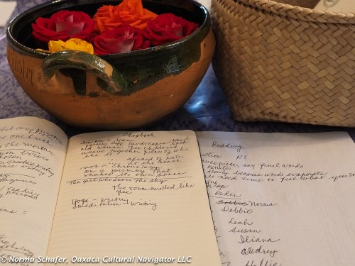 Roses on the writing table with journal notes