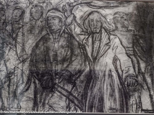 Detail, mural sketch, with Francisco I. Madero and Miguel Hidalgo