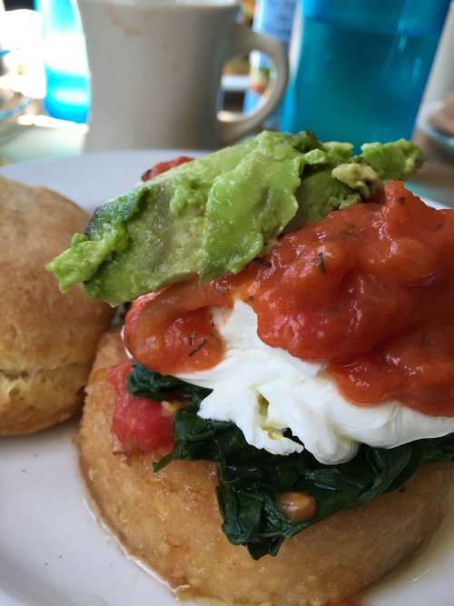 Poached eggs, tomato gravy, grit cakes, Early Girl Cafe, Asheville