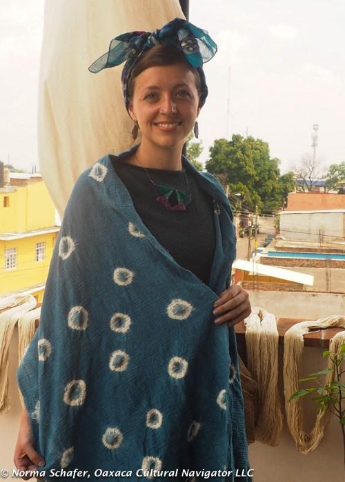 Rhiannon wears her finished indigo shibori scarf