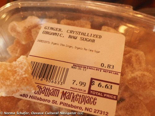 Candied ginger, my stash from Pittsboro, North Carolina, used with consideration.