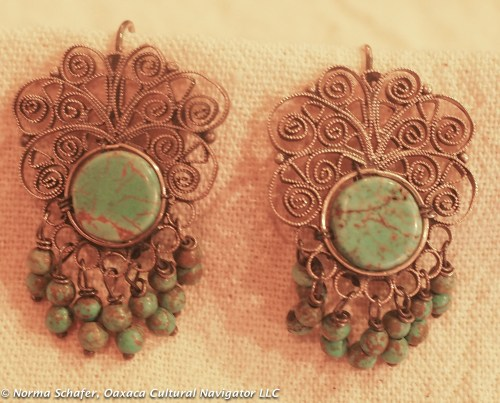 #9. Sterling silver filigree and turquoise earrings, $95 USD.