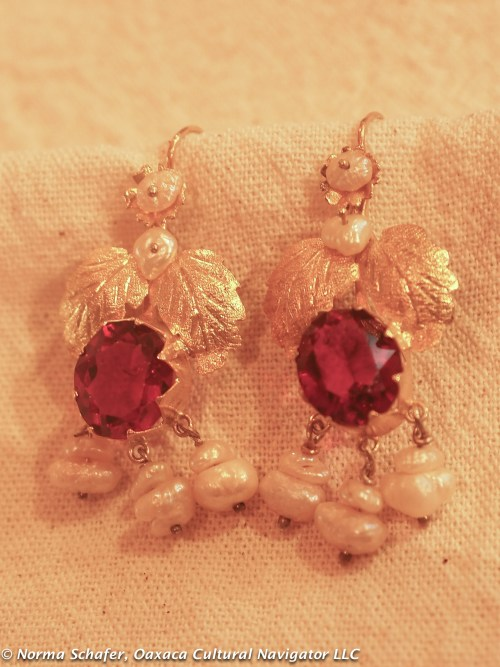 #1. 10K Gold filigree with pearls and red cut glass, bezel set. $350 USD.