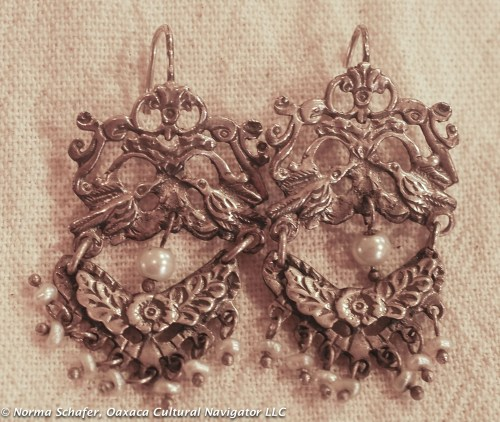 "#6. Sterling Silver and pearl birds and flowers. 1-3/4"" long. $155 USD."