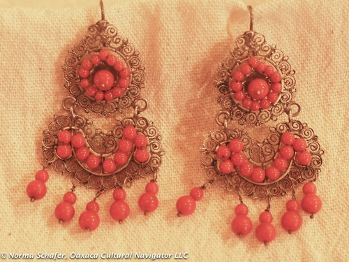 #8. Traditional sterling silver filigree and coral earrings, new. $95 USD.