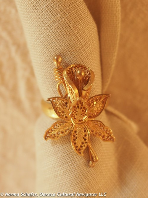 "10K Gold filigree flower ring, Veracruz, size 4-1/2, with 1"" flower, $95"