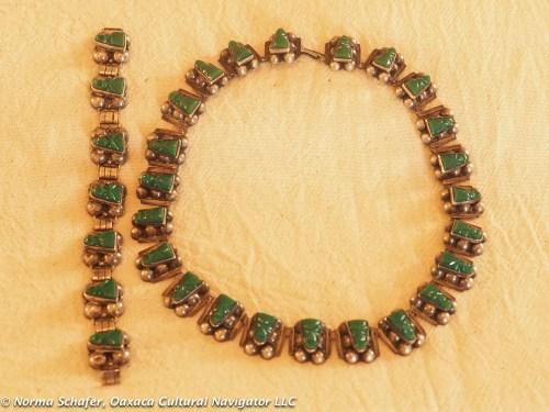 Jadeite + Sterling Vintage 40's Choker & Bracelet, $250