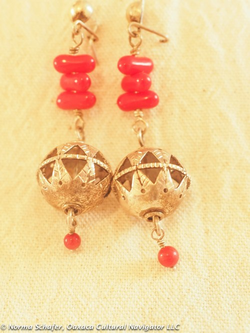 Patzcuaro, Michoacan. Handmade silver and coral dangle earrings, $110
