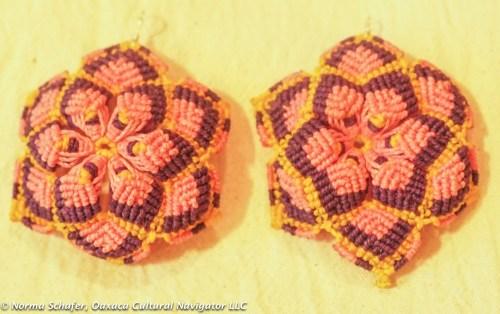 """Waxed Linen Crochet Flower earrings, 2-3/4"""" dia. from Estado de Mexico, $35 USD"""