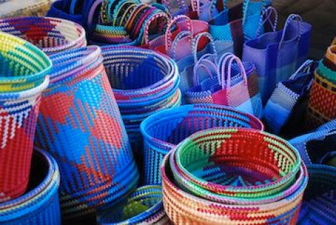 Colorful plastic woven baskets, Tlacolula Market.