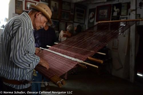 Evaristo Borboa Casas, age 92, ikat rebozo backstrap loom weaver