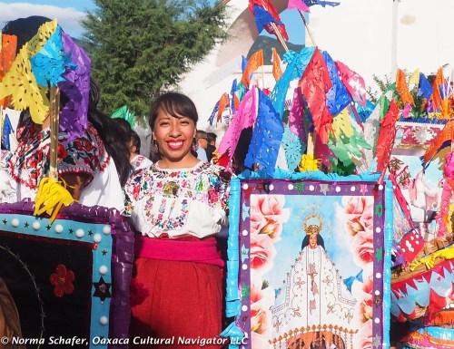 Janet Chavez Santiago in the Parade of the Baskets, Convite de las Canastas, Teotitlan del Valle