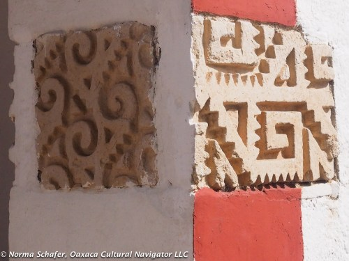 Pre-Hispanic Zapotec carvings embedded in church wall