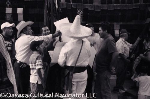 White sombrero. Tlacolula market, post-processing with Silver Efex