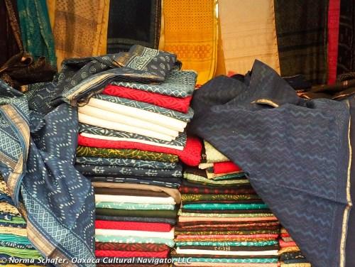 Sneak preview of Nature Bazaar: piles of indigo and block prints