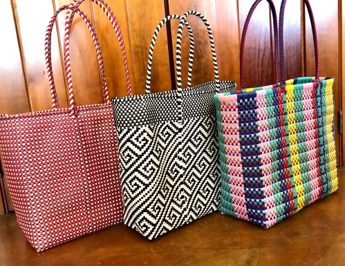MEXICAN PLASTiC BAG Made in Oaxaca Oaxaca Handwoven Tote Beach bag Market Bag