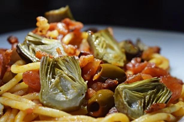 Espaguete com mini alcachofra 1