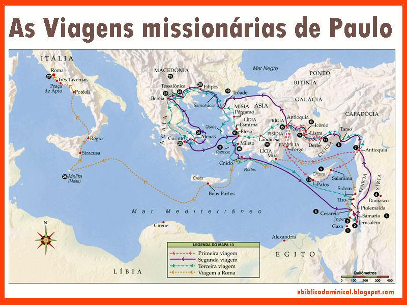 I. A PRIMEIRA VIAGEM MISSIONÁRIA (AT 13 – 14)  II. A SEGUNDA VIAGEM MISSIONÁRIA (AT 15.36 – 18.28) III. TERCEIRA VIAGEM MISSIONÁRIA (AT 18.23 – 28.31)