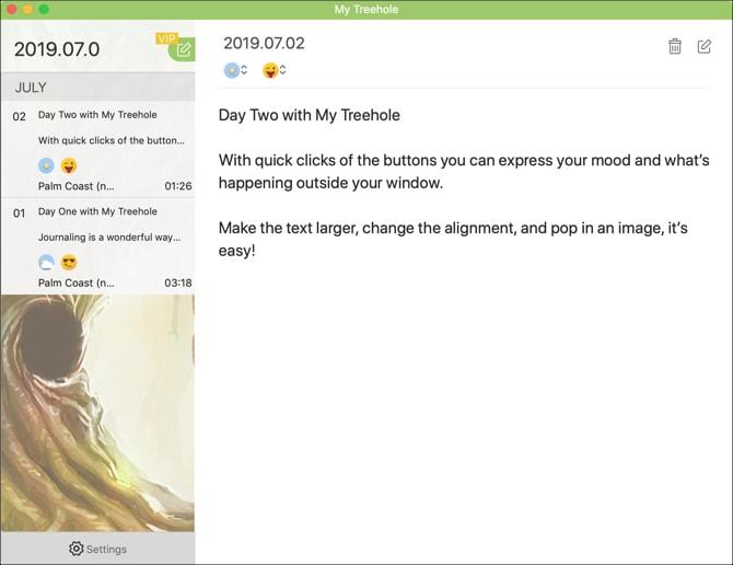 My Treehole journal App