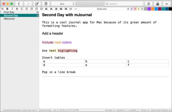 mJournal diary app for Mac Review