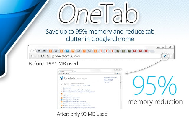 """""""OneTab"""" from Chrome store"""