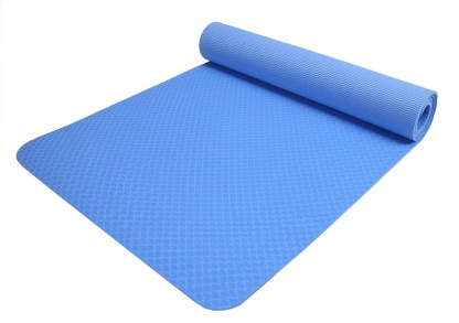 """Non-Slip TPE Yoga Mat 1/4"""" (6mm) with Carrying Strap & Bag"""