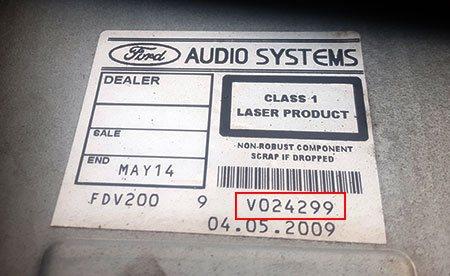 ford radio code v serial