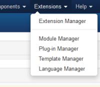 Joomla, menú Extensiones