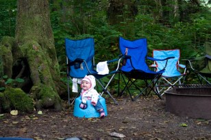 We used to have three camp chairs around our fire. This year we added a cute little bumbo. It's even blue :)