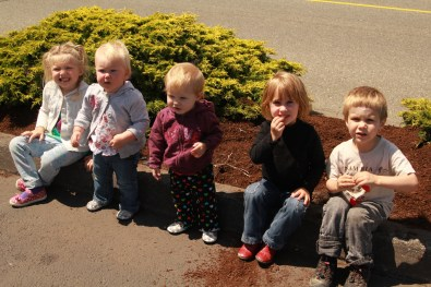 All the kiddos, pre-boat, except Claire (who was attached to me)