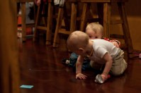 Whenever Claire saw Gavin she immediately tried to climb up him. He promptly ran away :)
